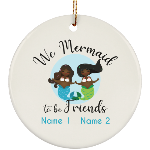 Personalized Black Mermaid to Be Friends Ceramic Circle Ornament