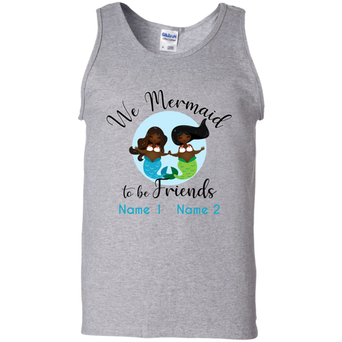 Personalized Black Mermaids, Mermaid to Be Friends Unisex Cotton Tank Top