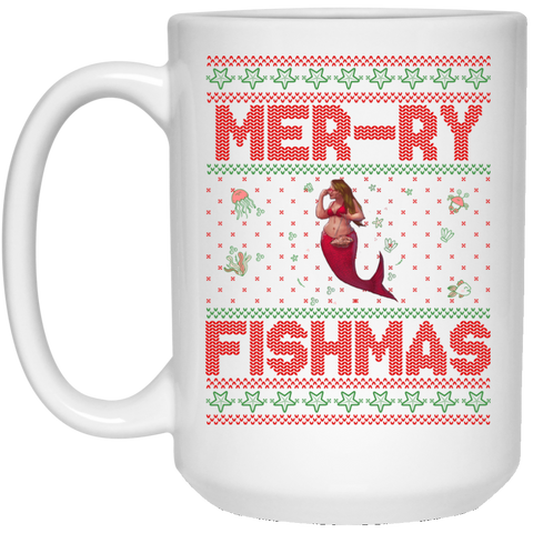 Mermaid Ugly Christmas Sweater, Glory 15 oz. Mug
