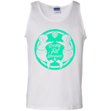 White Unisex Tank Top Featuring Society of Fat Mermaids Green Logo- Two Fat Mermaids Facing Each Other