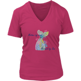 Mother by Land, Mermaid by Sea Premium Women's Fit V-Neck
