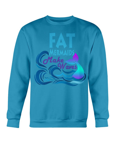Fat Mermaids Make Waves Crew Neck Sweatshirt