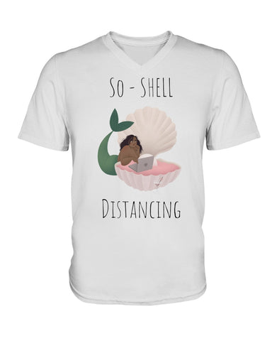 So-Shell Distancing Laptop Premium Unisex V-Neck T-Shirt
