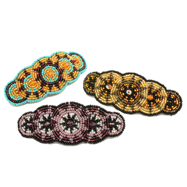 Beaded five circle barrette handmade in Guatemala
