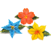 beaded flower barrette handmade in Guatemala