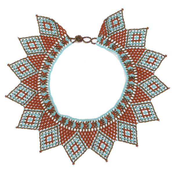 Beaded star collar handmade in Guatemala.