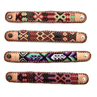 Maya leather and macrame bracelets handmade Guatemala