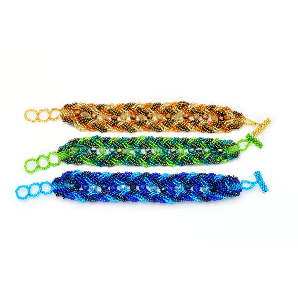 Beaded double braid bracelet handmade in Guatemala