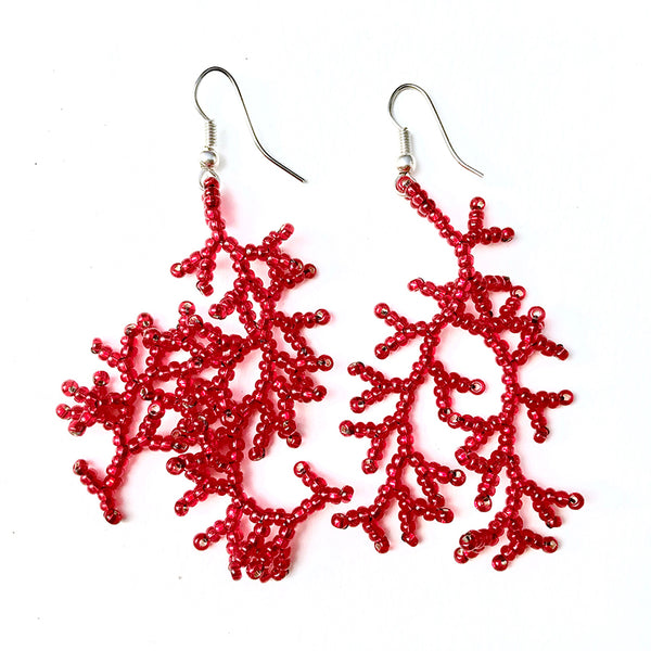 Beaded Coral style earrings handmade in Guatemala