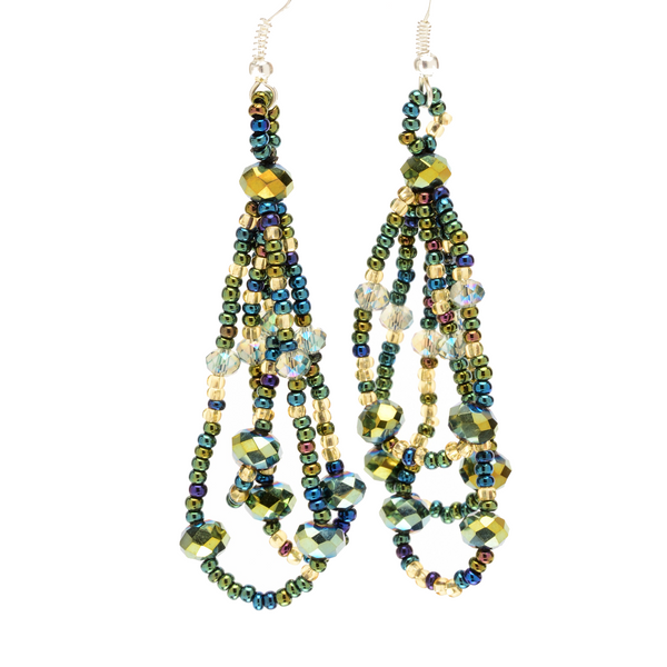 Beaded loop earrings handmade by Maya in Guatemala