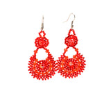 Beaded earrings basket shape handmade in Guatemala