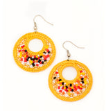 crochet hoop beaded earrings handmade in Guatemala