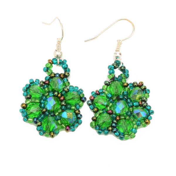 Beaded glass and cyrstal earrings handmade in Guatemala