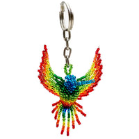 Beaded hummingbird key chain handmade in Guatemala
