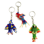 beaded parrot key chain handmade in Guatemala