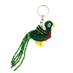 Quetzal beaded bird keychain handmade in Guatemala