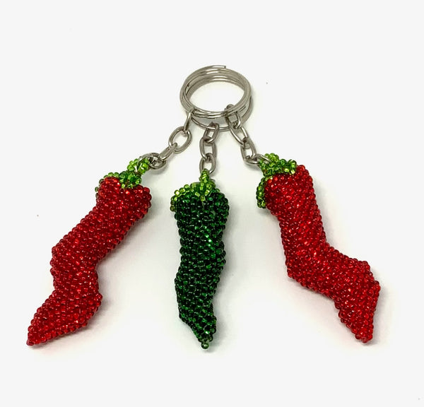 Keychain Chili Peppers - Red and Green