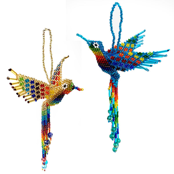 Beaded hummnbird ornament handmade in Guatemala