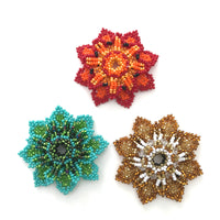 Flower magnet made in Guatemala glass seed beads