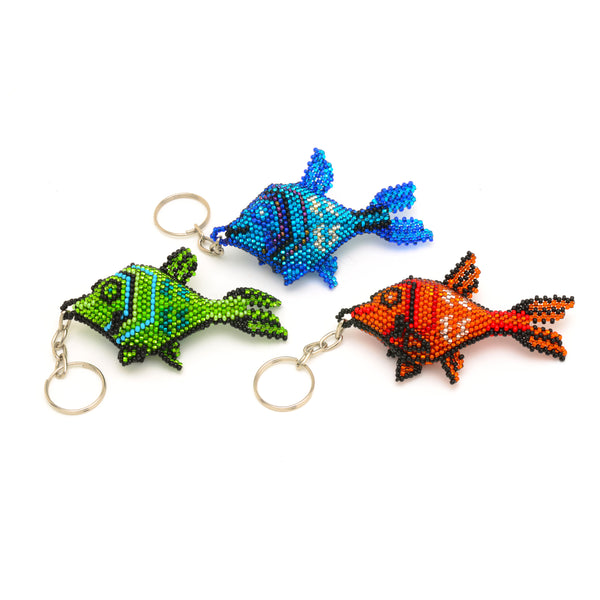 Beaded fish keychain handmade in guatemala