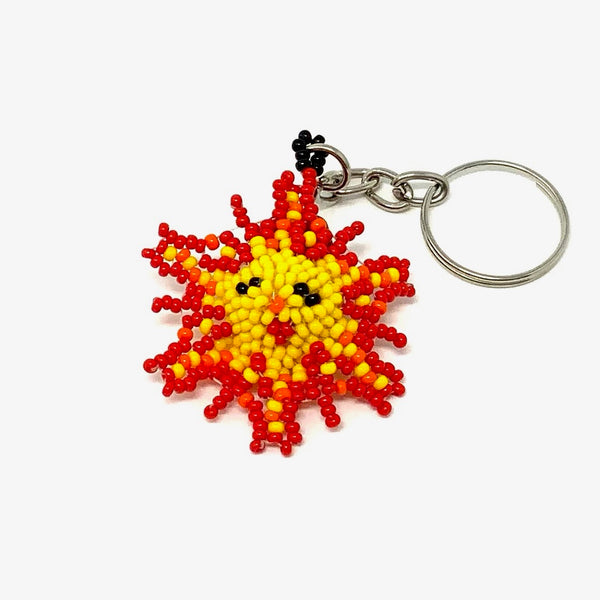 Keychain - Sun face - yellow with red and orange