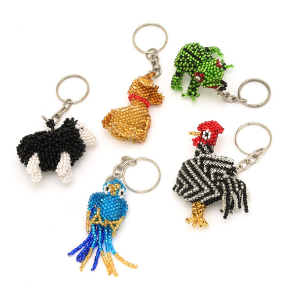 Assorted beaded keychains handmade in Guatemala