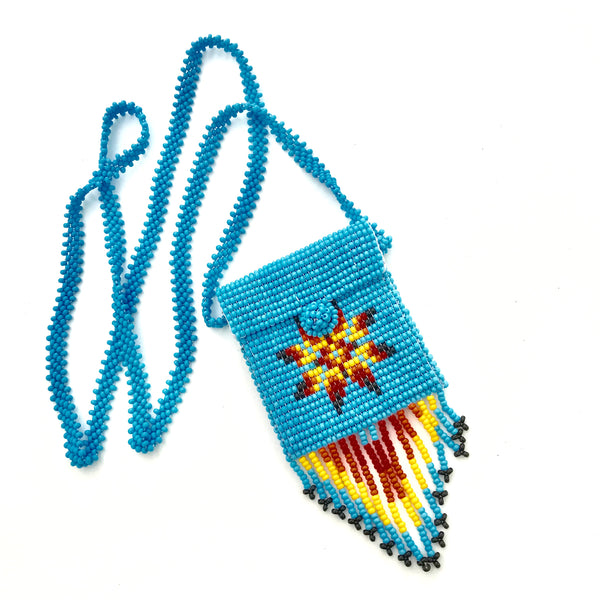 Native style mini beaded bag necklace handmade in Guatemala