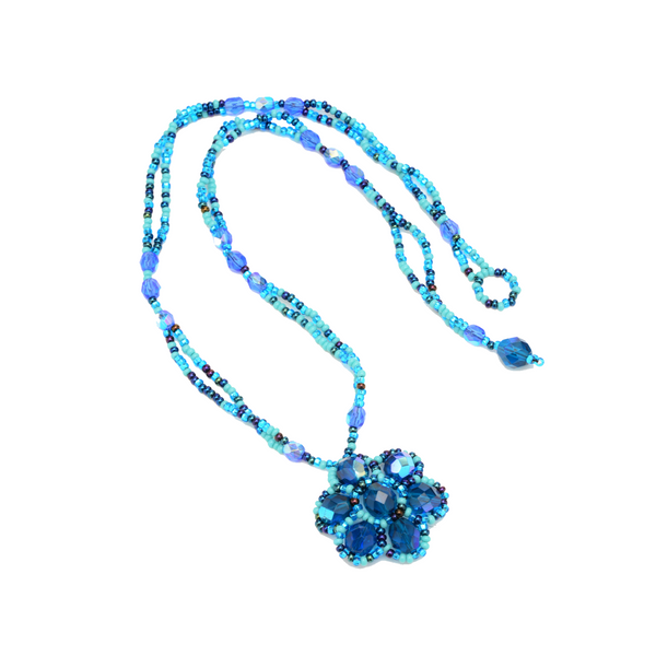Crystal flower necklace handmade with beads in Guatemala