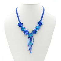 Beaded Snowflake necklace handmade in Guatemala