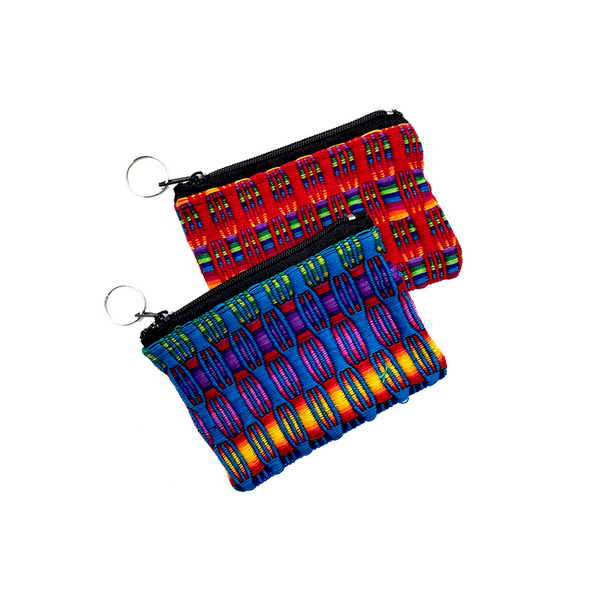 3x4 inch cotton pouch with keychain handmade in Guatemala