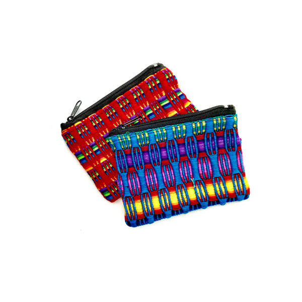 Coin pouch panal fabric cotton handmade in Guatemala