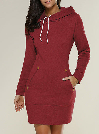 Plus Size Hooded Mini Dress