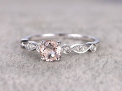 Pink Silver Diamond Ring