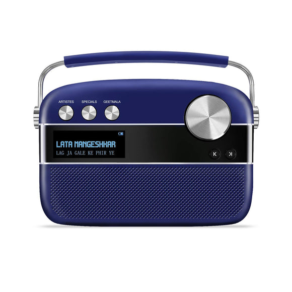 Saregama Carvaan Premium Royal Blue Bluetooth Speaker with remote