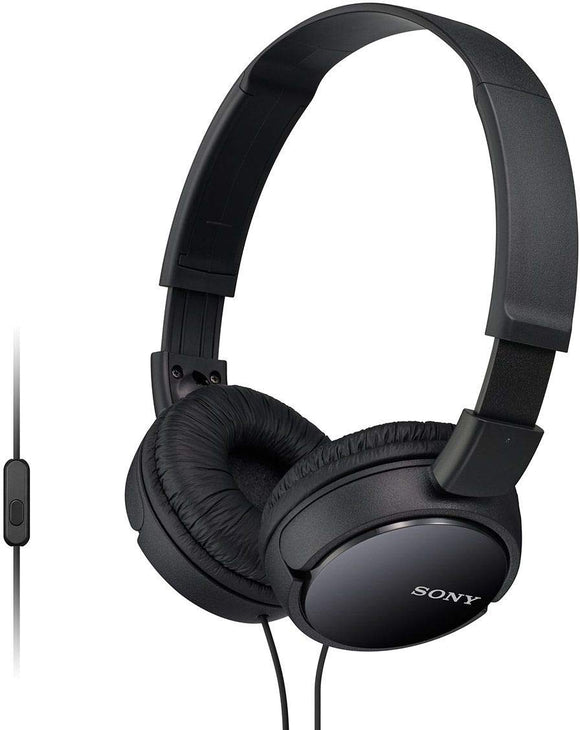 Sony MDR-ZX110AP Wired On-Ear Headphone with tangle free cable, 3.5mm Jack, Headset with Mic for phone calls and