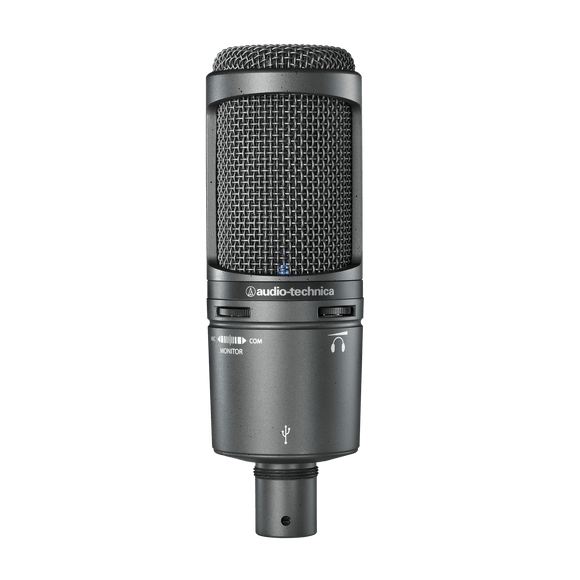 Audio Technica Side-address cardioid condenser microphone with USB digital output, HP output, monitor and gain control. Windows & Mac compatible.   AT2020 USB+