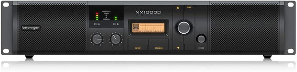 Behringer NX1000D  Ultra-Lightweight 1000-Watt Class-D Power Amplifier with DSP Control and SmartSense Loudspeaker Impedance Compensation with power output 2 x 500 Watts into 2 Ohms; 2 x 300 Watts into 4 Ohms; 1000 Watts into 4 Ohms