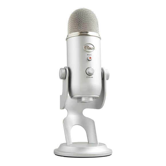 Blue Yeti USB Mic for Recording and Streaming on PC and Mac, 3 Condenser Capsules, 4 Pickup Patterns, Headphone Output and Volume Control, Mic Gain Control, Adjustable Stand, Plug and Play