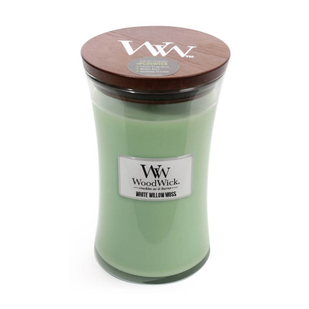 Large White Willow Moss Scented WoodWick Soy Candle
