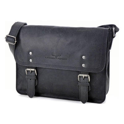 Urban Forest Apache Small Leather Satchel Bag - Black