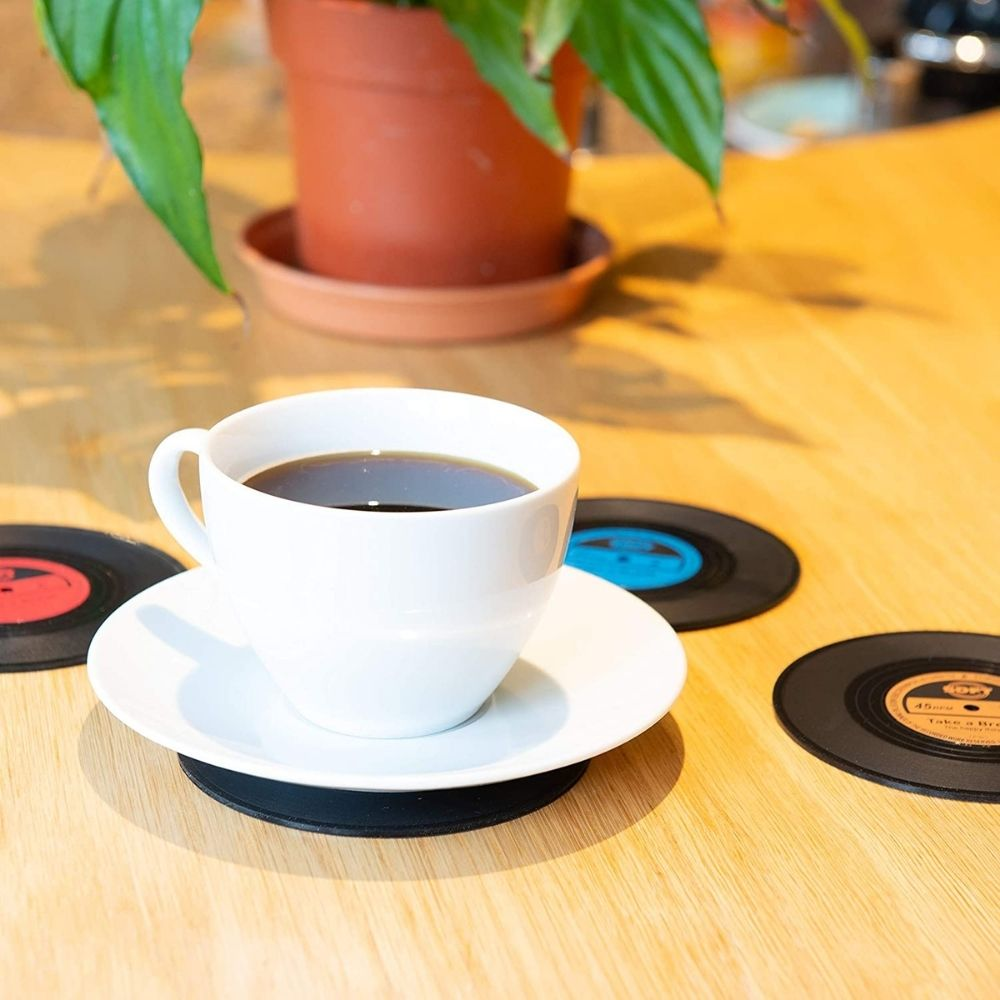 vinyl coaster set from funky gifts nz