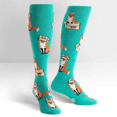 Sock It To Me Socks - Women's Knee - Foxes in Boxes