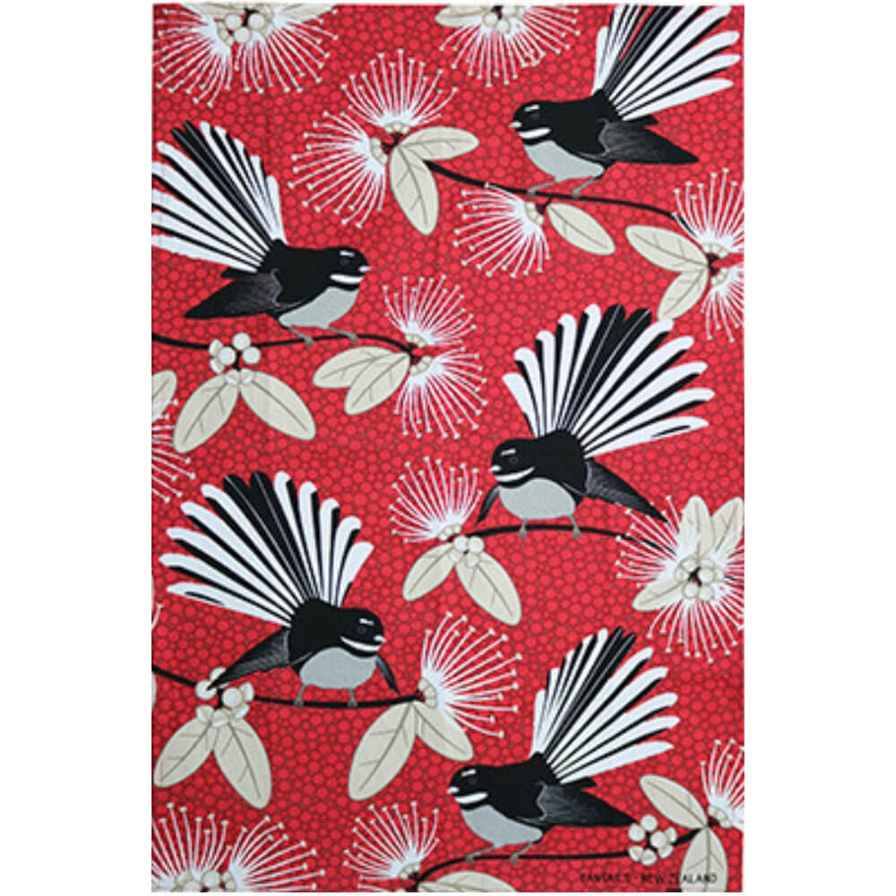 Flirting Fantail Red Tea Towel
