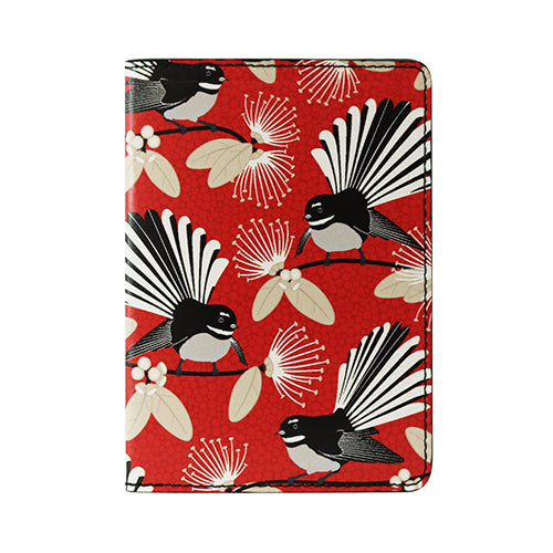 Passport Holder Flirting Fantails Red