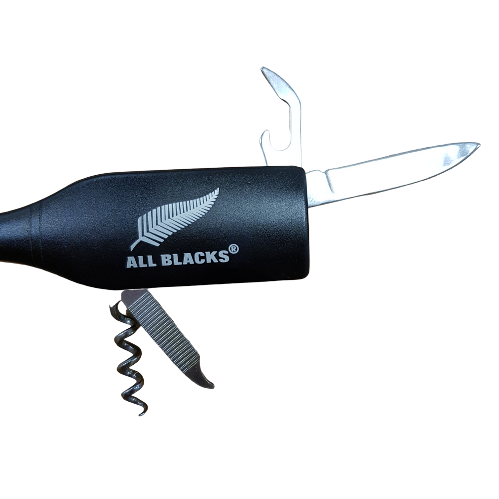All Blacks Key Ring Waiter's Friend Multi-tool with bottle Opener and corkscrew from Funky Gifts NZ