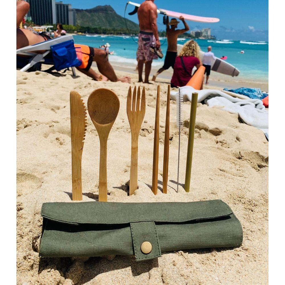 Bamboo Eco Cutlery Set - Olive