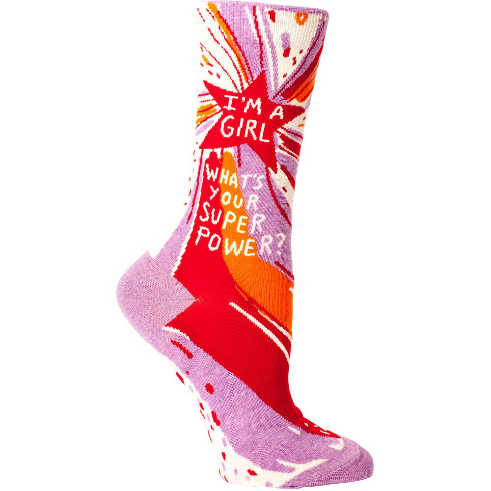Blue-Q-Womens-Crew-Socks-Im-A-Girl-Whats-a-superpower-Funky-Gifts-NZ