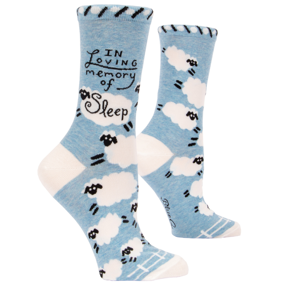Blue Q Womens Crew Socks Size 5 to 10 In Loving Memory of Sleep from Funky Gifts NZ