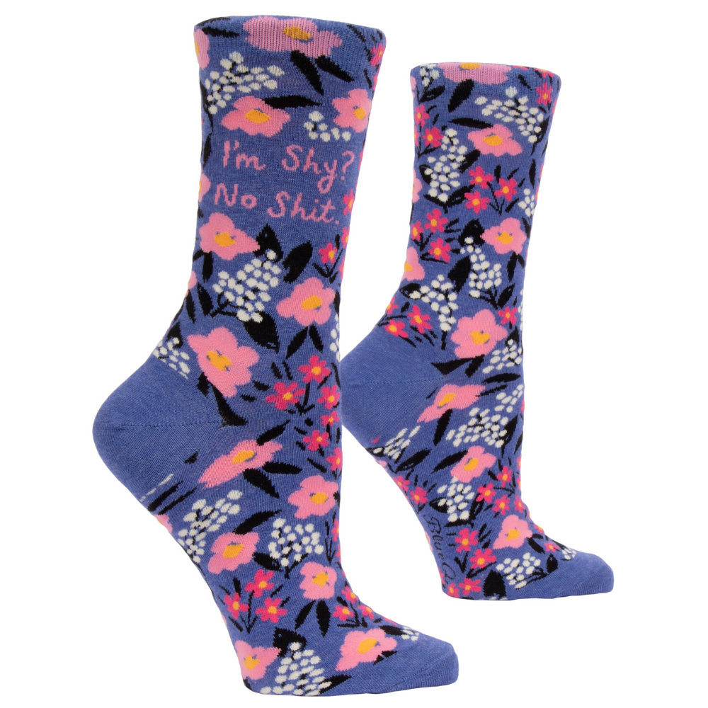 Blue Q Womens Crew Socks I'm Shy? no shit from Funky Gifts NZ