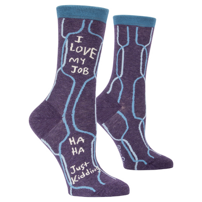 Blue Q Womens Crew Socks I Love My Job Ha Ha Just Kidding from Funky Gifts NZ